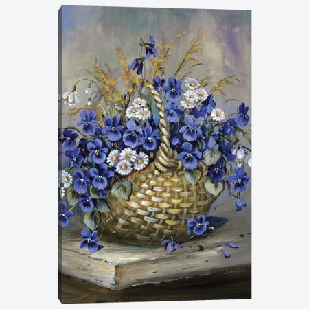 Basket In Blue 3-Piece Canvas #INA1} by Katharina Schöttler Canvas Wall Art