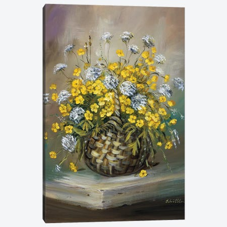 Basket In Yellow Canvas Print #INA2} by Katharina Schöttler Canvas Artwork