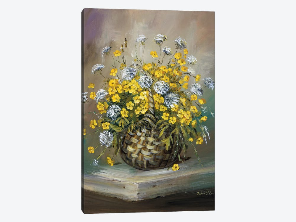 Basket In Yellow 1-piece Canvas Art