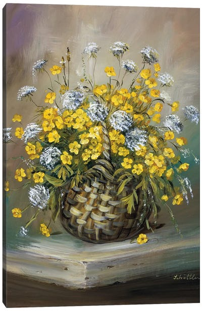 Basket In Yellow Canvas Art Print