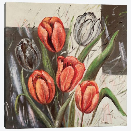 Orange Tulips Canvas Print #INA36} by Katharina Schöttler Canvas Artwork
