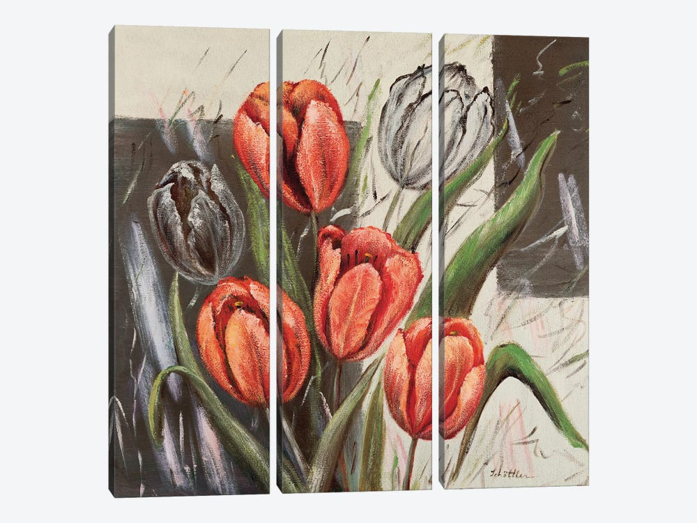 Orange Tulips by Katharina Schöttler 3-piece Canvas Wall Art