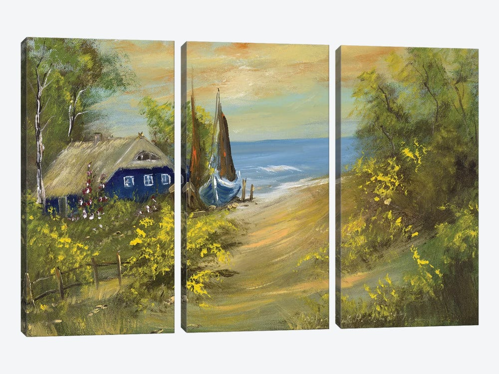 Blue House I by Katharina Schöttler 3-piece Canvas Wall Art