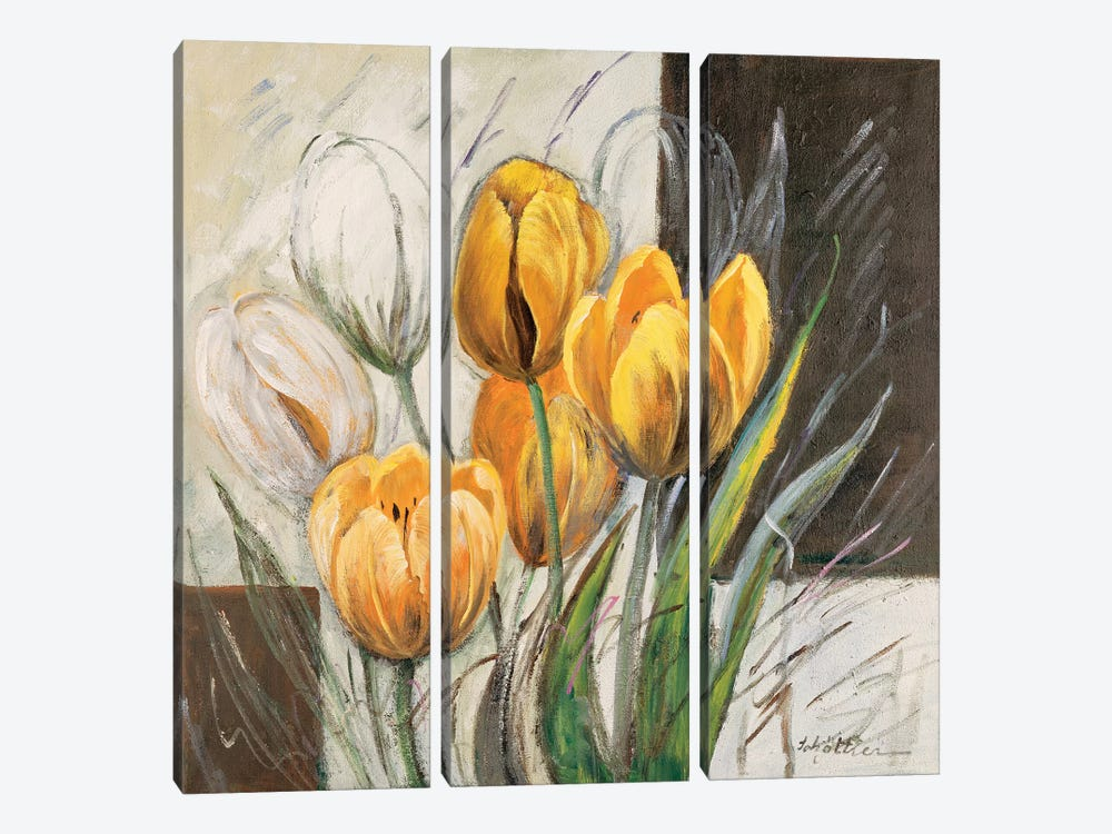 Yellow Tulips by Katharina Schöttler 3-piece Canvas Art Print