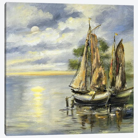Boats Lie At Anchor Canvas Print #INA6} by Katharina Schöttler Canvas Print