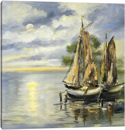 Boats Lie At Anchor Canvas Art Print