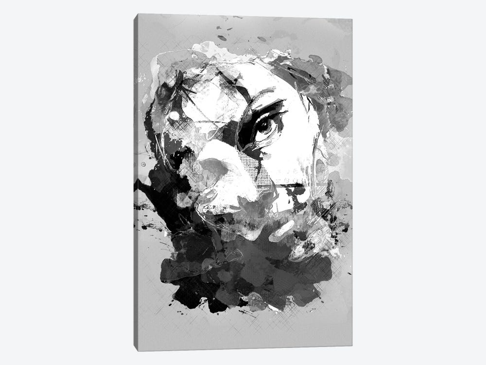 Jasmine No. 3, B&W by inkycubans 1-piece Canvas Wall Art