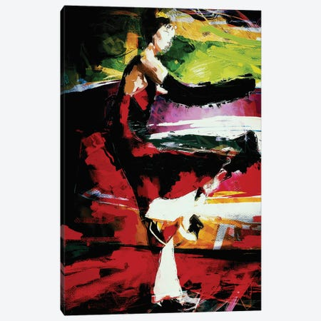Laila Dancing Backwards Canvas Print #INK21} by inkycubans Canvas Artwork