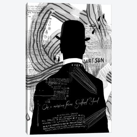 Watson, B&W Canvas Print #INK28} by inkycubans Canvas Artwork
