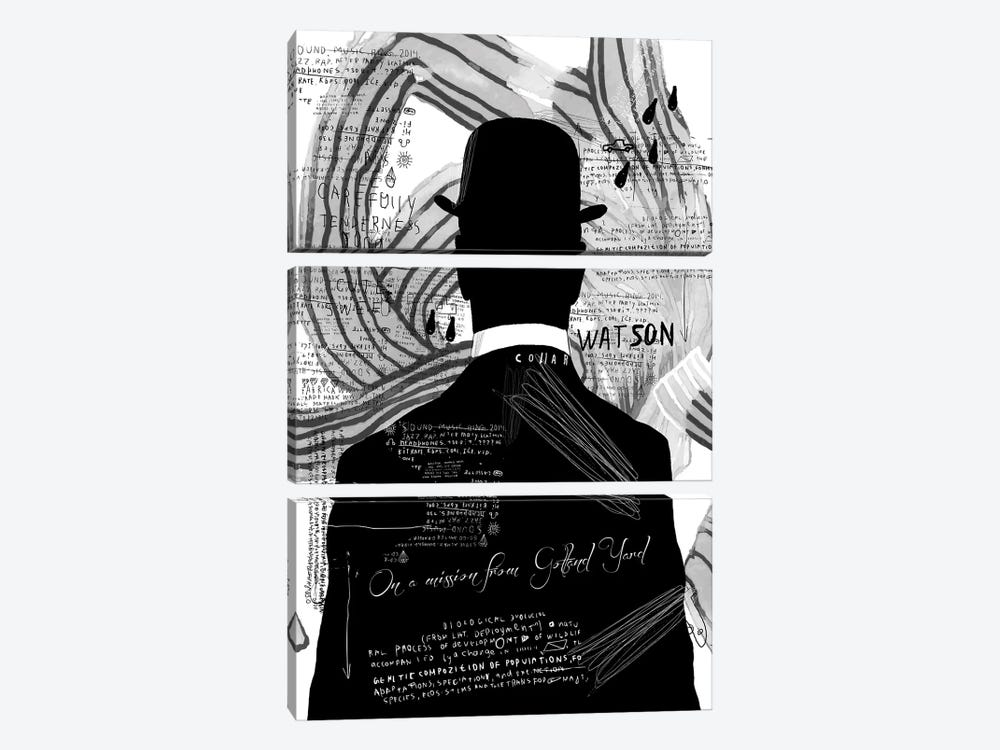 Watson, B&W by inkycubans 3-piece Art Print