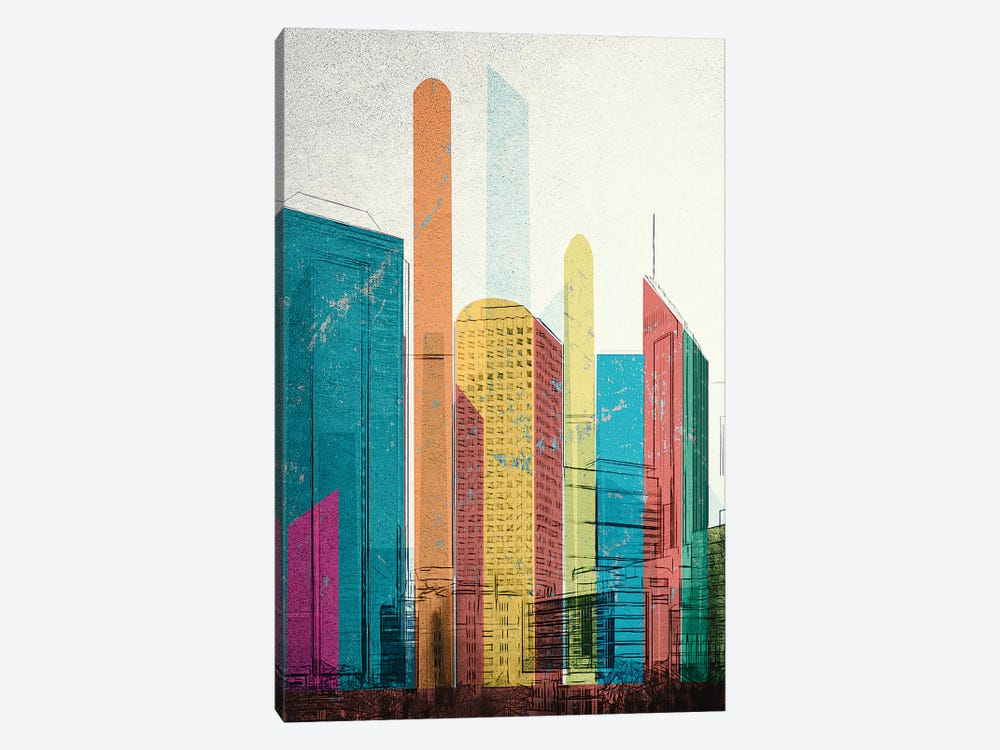 Cityscrapers I by inkycubans 1-piece Canvas Art