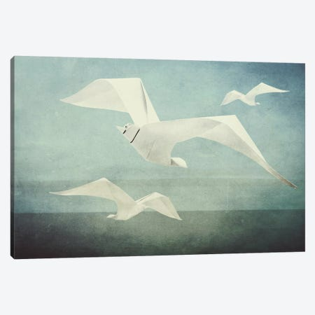 Seagulls Canvas Print #INK62} by inkycubans Canvas Wall Art