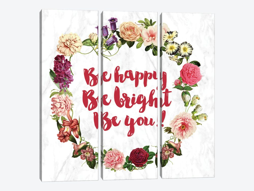 Be Happy… by 5by5collective 3-piece Canvas Print