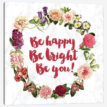Be Happy… Canvas Print #INW1} by 5by5collective Art Print