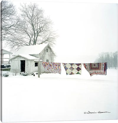 Quilts in Snow Canvas Art Print