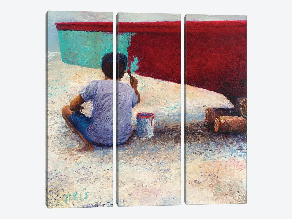 My Thai Boat Painter by Iris Scott 3-piece Canvas Print