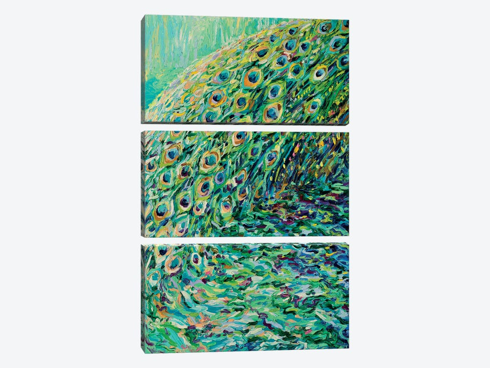 Peacock Diptych Panel I 3-piece Canvas Wall Art