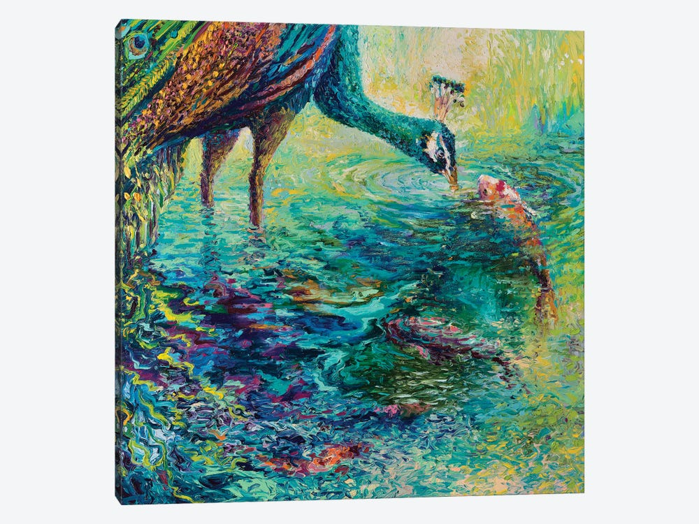 Peacock Diptych Panel II by Iris Scott 1-piece Art Print