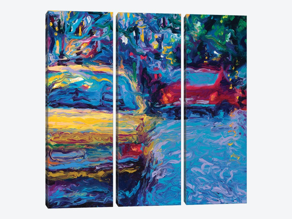 Yellow Volvo by Iris Scott 3-piece Canvas Artwork
