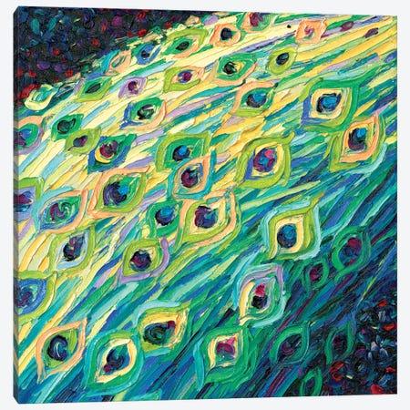 Black Peacock Diptych Panel I Canvas Print #IRS149} by Iris Scott Canvas Print
