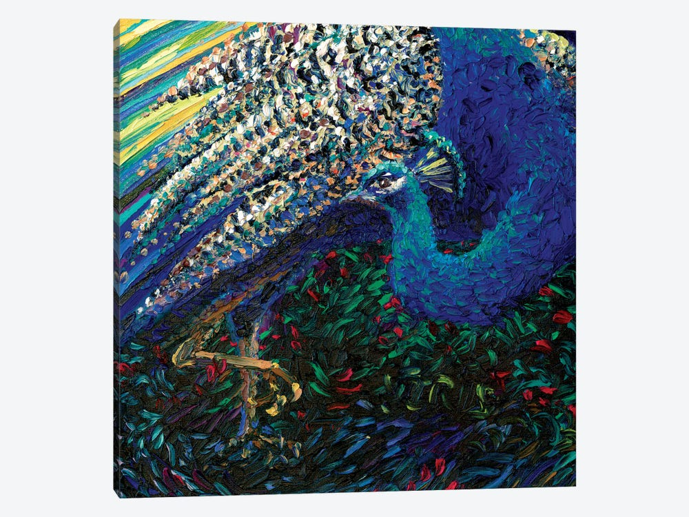Black Peacock Diptych Panel II by Iris Scott 1-piece Canvas Art