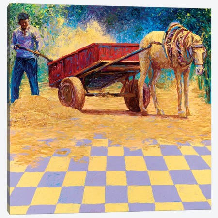 Dusty Horse Cart Canvas Print #IRS178} by Iris Scott Canvas Artwork