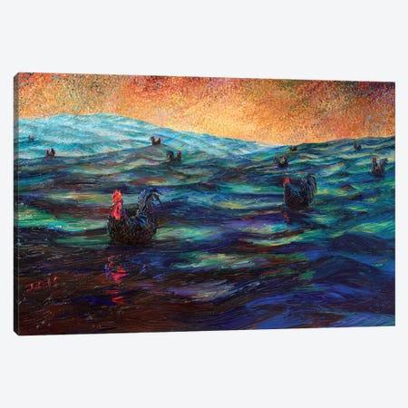 Black Roosters Canvas Print #IRS250} by Iris Scott Canvas Art Print