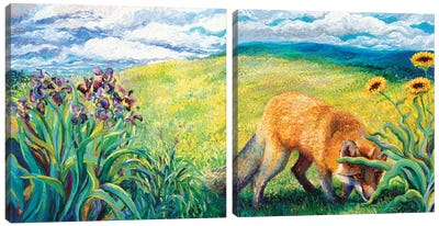 Foxy Diptych Canvas Art Print