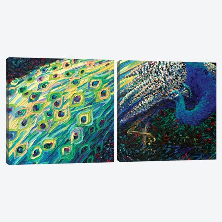 Black Peacock Diptych Canvas Print Set #IRS2HSET010} by Iris Scott Canvas Artwork