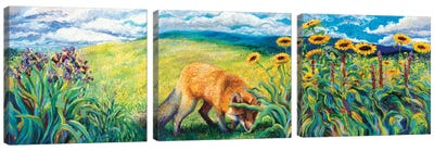 Foxy Triptych Canvas Art Print