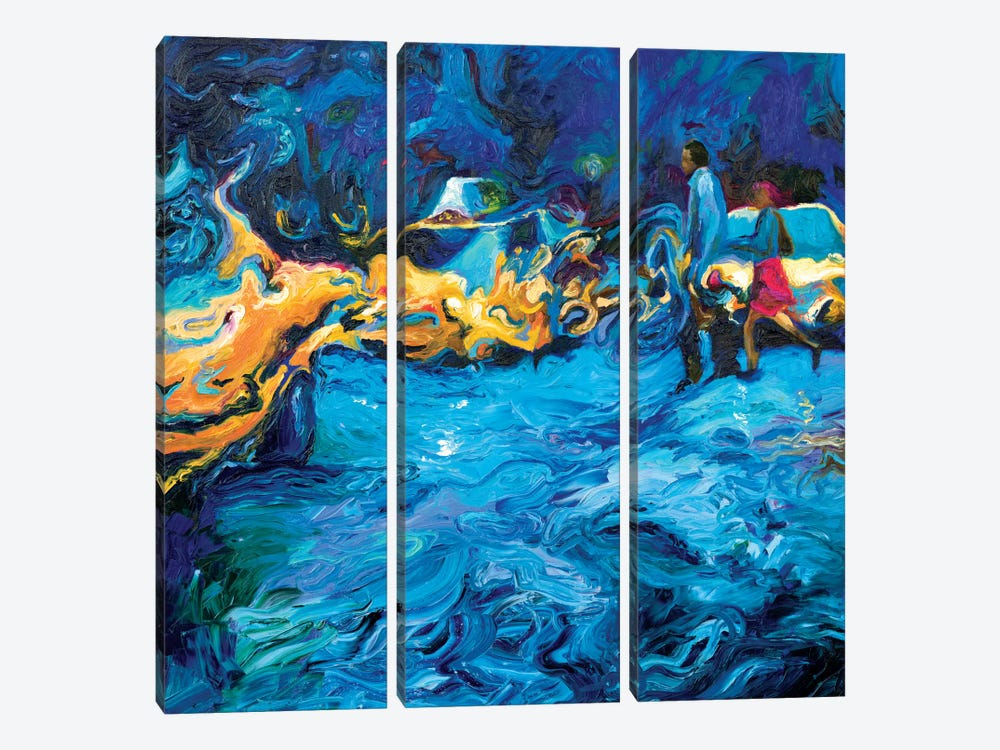 Running In Rain 3-piece Canvas Wall Art