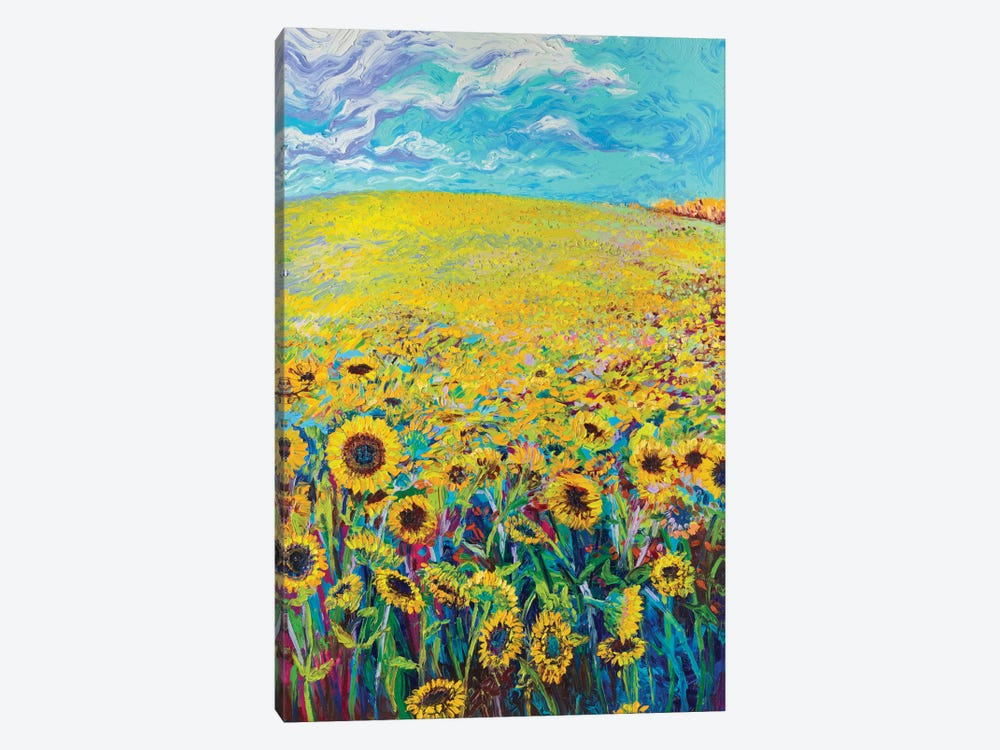 Sunflower Triptych Panel I by Iris Scott 1-piece Canvas Print