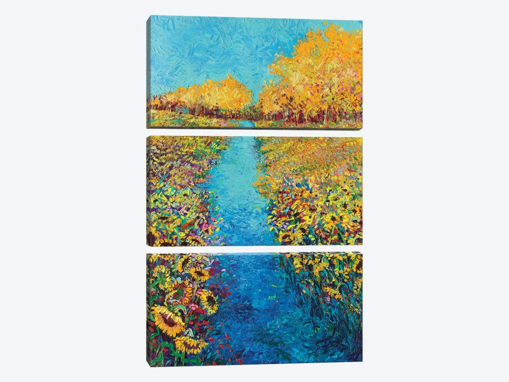 Sunflower Triptych Panel II by Iris Scott 3-piece Canvas Art