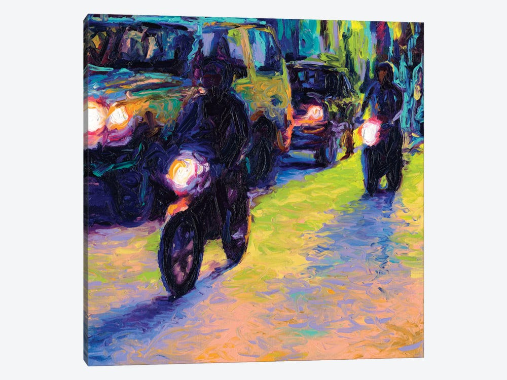 Two Motorcycles by Iris Scott 1-piece Art Print