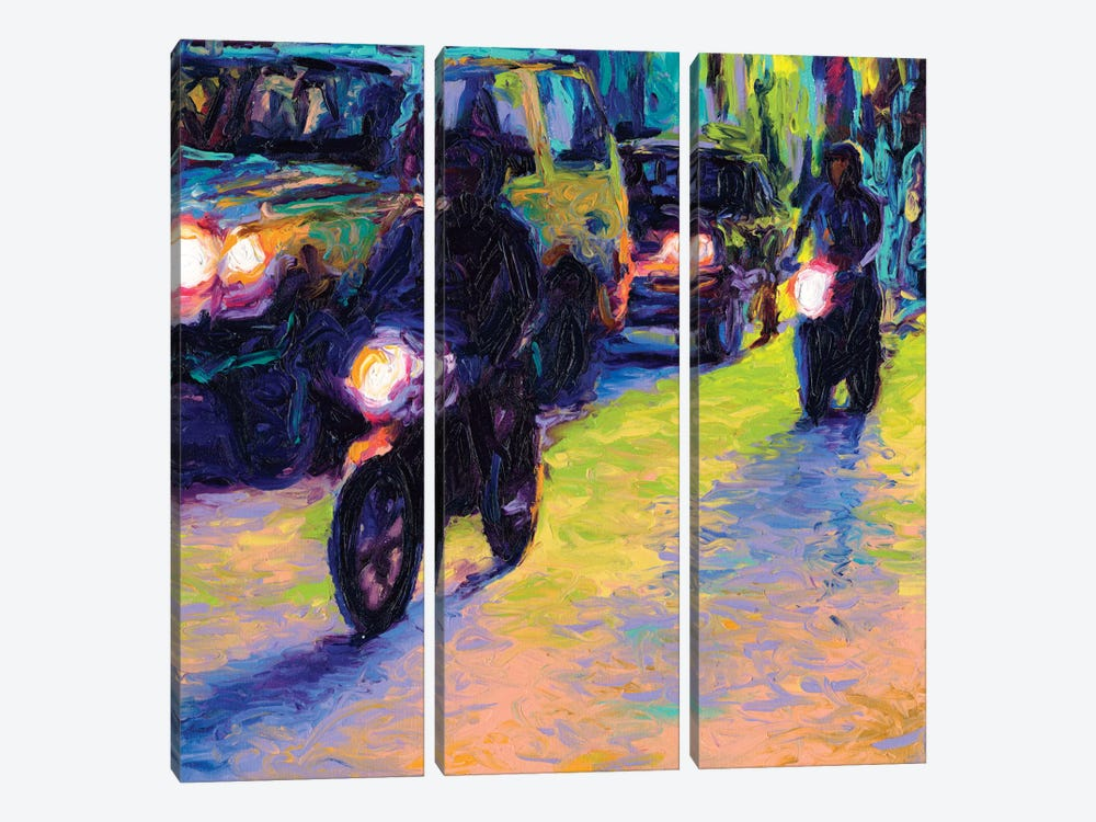 Two Motorcycles by Iris Scott 3-piece Art Print