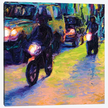 Two Motorcycles Canvas Print #IRS90} by Iris Scott Canvas Art