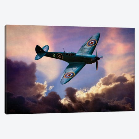 Spitfire Above The Clouds Canvas Print #ISL261} by Chris Lord Canvas Art Print