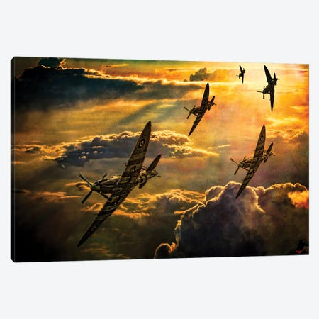Spitfire Attack Canvas Print #ISL263} by Chris Lord Art Print