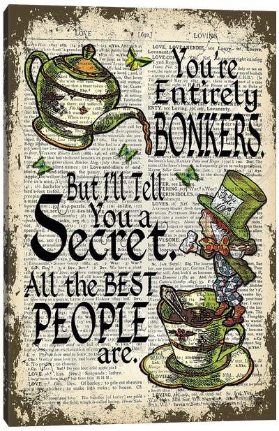 Alice In Wonderland ''Mad Hatter / Bonkers'' Canvas Art Print