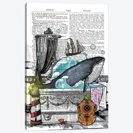 There Is A Whale In The Bathtub Canvas Print #ITF12} by In the Frame Shop Art Print