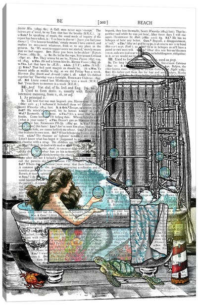There Is A Mermaid In The Bathtub Canvas Art Print