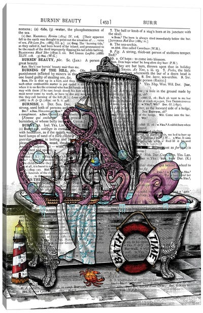 There Is An Octopus In The Bathtub Canvas Art Print