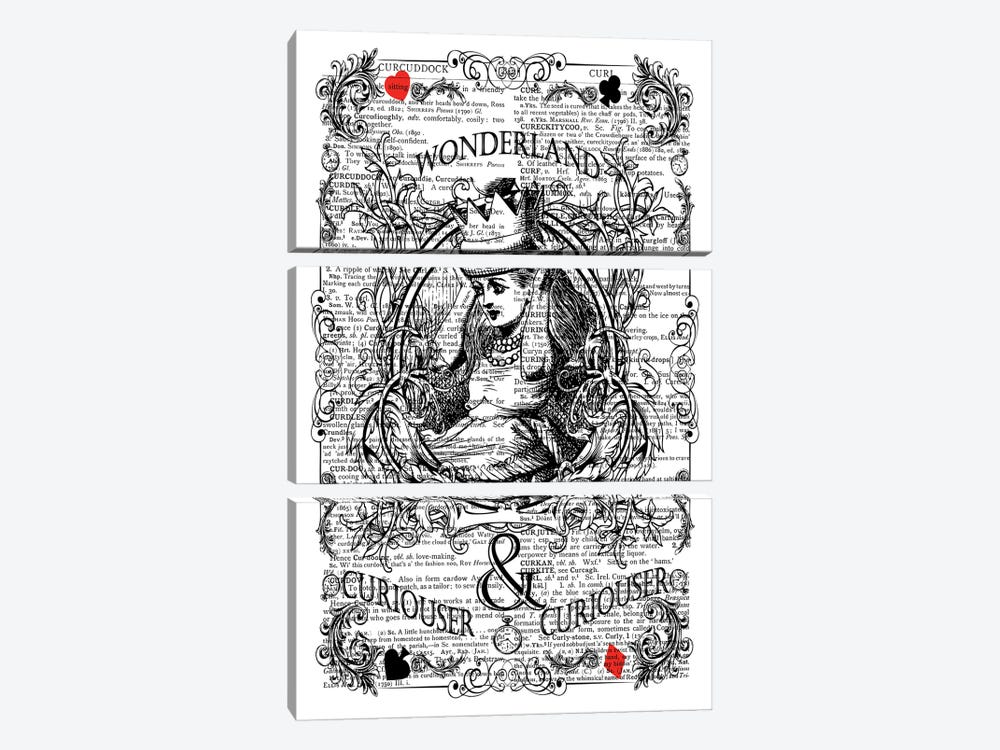 Alice In Wonderland ''Curiouser'' by In the Frame Shop 3-piece Canvas Art