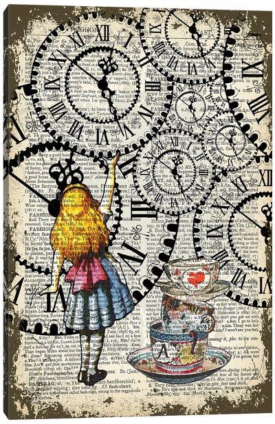 Alice In Wonderland ''Catch The Clocks'' Canvas Art Print