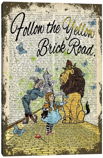 Wizard Of Oz ''Follow The Yellow Brick Road'' Canvas Art Print
