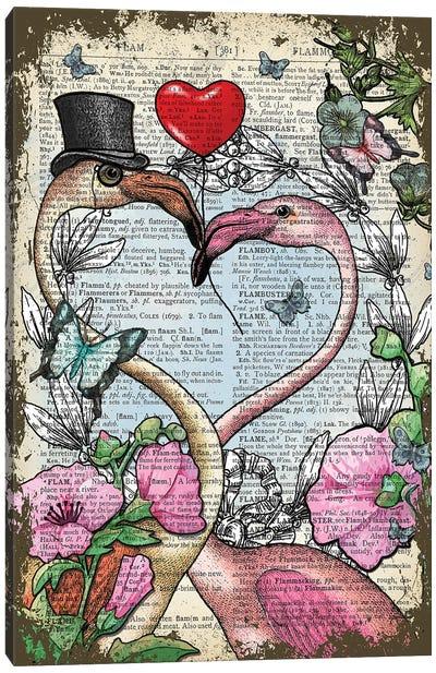 Flamingos In Love Canvas Art Print