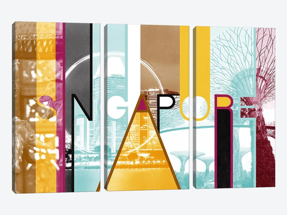 Fusion of Cultures - Singapore by 5by5collective 3-piece Canvas Art