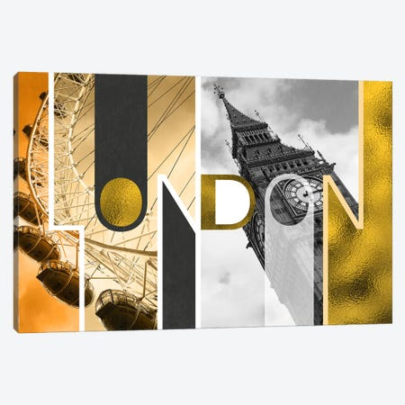 The Capital of Two Sectors Gold Edition - London Canvas Print #ITT14} by 5by5collective Canvas Wall Art