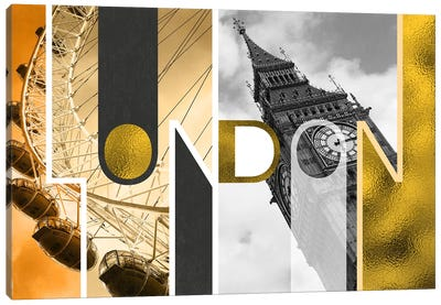 The Capital of Two Sectors Gold Edition - London Canvas Print #ITT14