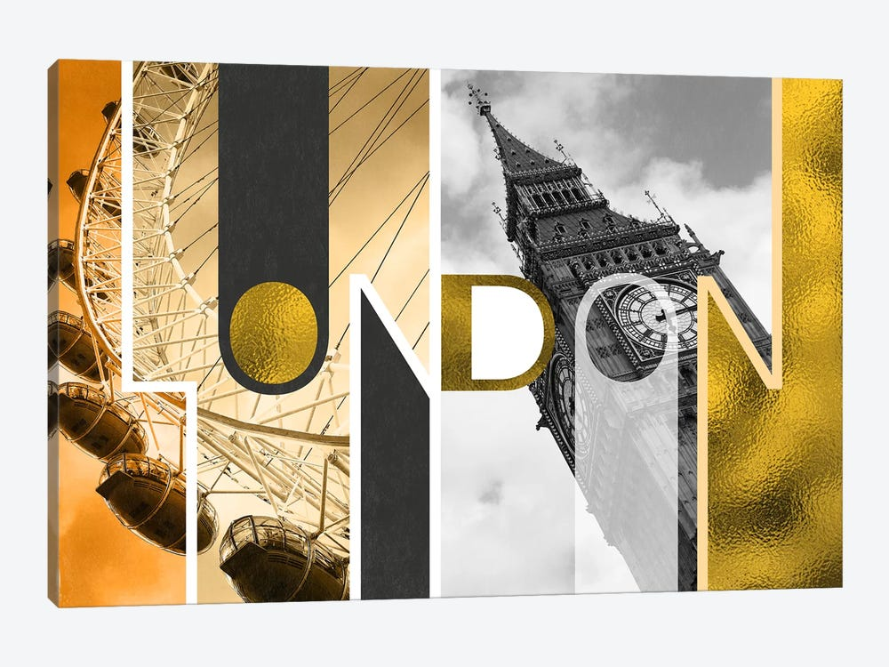 The Capital of Two Sectors Gold Edition - London by 5by5collective 1-piece Canvas Artwork